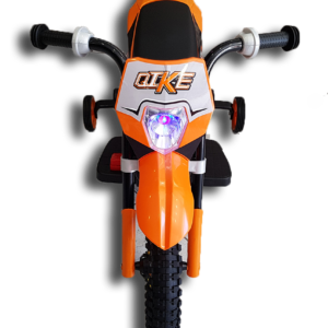 Μπροστινή μεριά ηλεκτρικής παιδικής mini moto μηχανής ktm πορτοκαλί