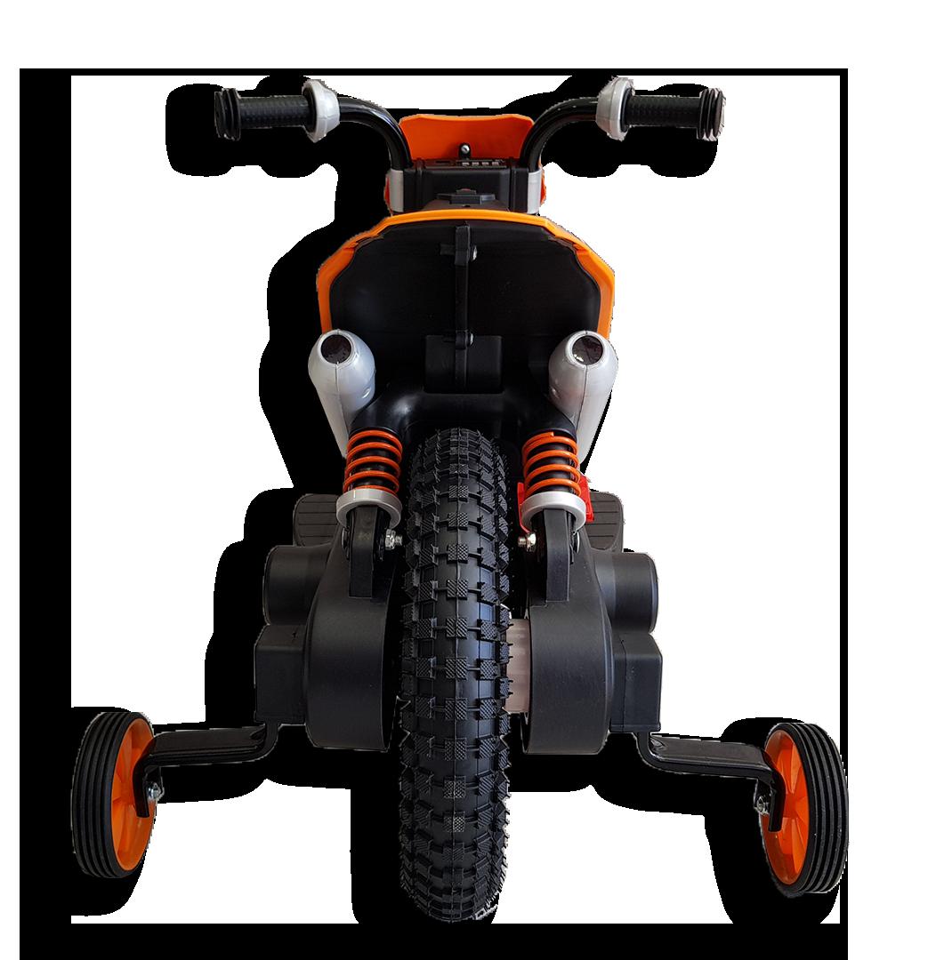 Πίσω μεριά ηλεκτρικής παιδικής mini moto μηχανής ktm πορτοκαλί