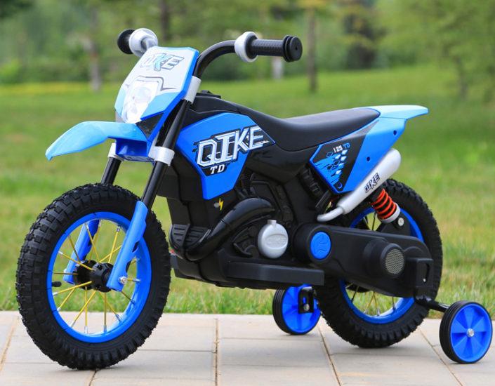 Πλαϊνή μεριά ηλεκτρικής παιδικής mini moto μηχανής ktm μπλε