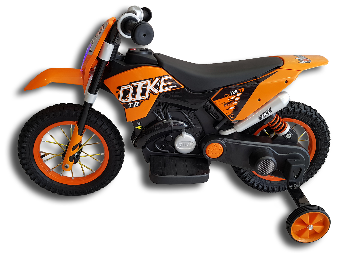 Πλαϊνή μεριά ηλεκτρικής παιδικής mini moto μηχανής ktm πορτοκαλί