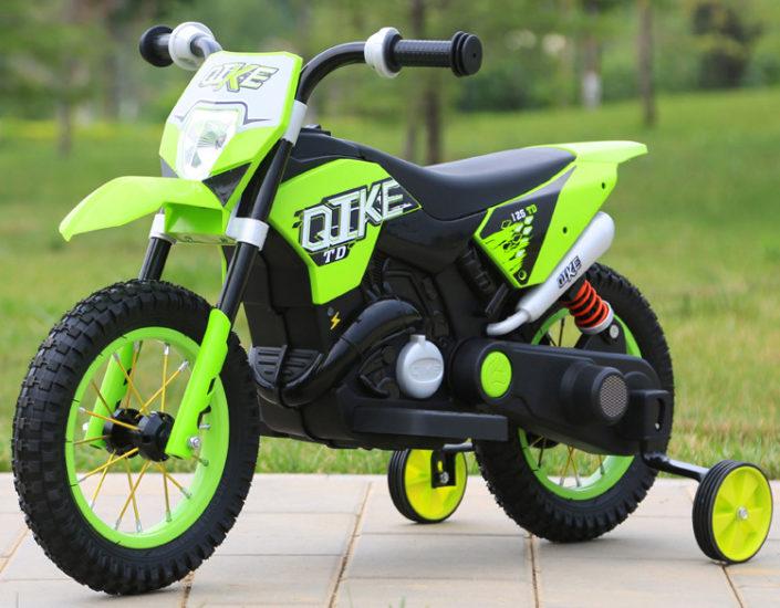 Πλαϊνή μεριά ηλεκτρικής παιδικής mini moto μηχανής ktm πράσινη