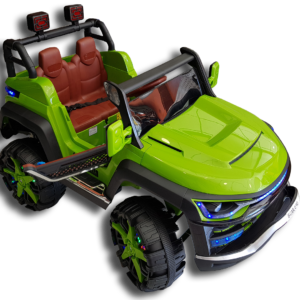 Πλαϊνό μέρος πράσινου ηλεκτρικού mini moto αυτοκινήτου - jeep 4x4